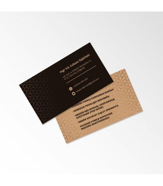 Wizytówki ekologiczne - papier EKO szary 350 gsm - druk dwustronny